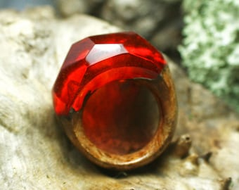 Vibrant Red Resin Ring, Wood Ring, wooden ring, Resin Jewelry, Nature Jewelry, Fantasy Ring, wood rings for women, wood epoxy jewelry