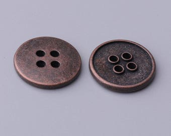 shirt button 4 holes sewing button 2 sizes 20/15mm 10pcs copper zinc alloy button round unsmoothed back side