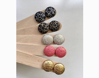 19mm Faux Leather Fabric Button Stud Earrings • Surgical Steel • Hypoallergenic • Black • Silver • Gold • Coral • Cream • Leatherette
