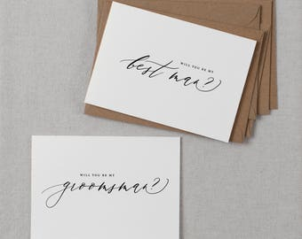 4 x Will You Be My Best Man, Will You be My Best Man, Groomsman Card, Wedding Party, Will You Be My Cards, Usher Card, K6