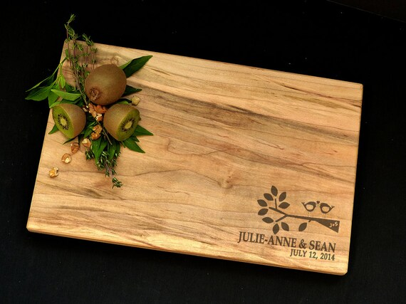Personalized Cutting Board - Tree Branch Cutting Board - Maple Cutting Board - Wedding Cutting Board  - Birds on Branch Cutting Board