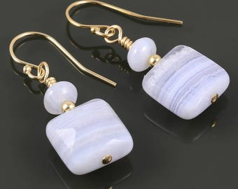Blue Lace Agate Earrings. Gold Filled Ear Wires. Genuine Gemstones. Small Drop Earrings. f17e070