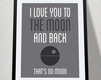 I Love You to the Moon and Back, Nursery Printable, Baby Geek, Star Wars Nursery, That's No Moon