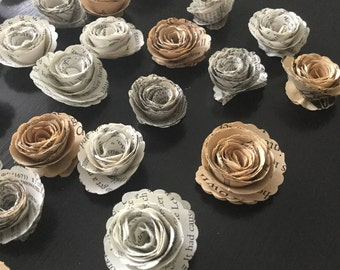 Book Page Flowers, Small Paper Flowers, Loose Flowers, Book Page Roses, Book Page Wedding, Book Paper Flowers, Scrapbooking Roses