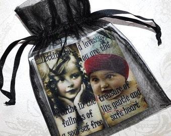 HEALING HOPE MAGNETS Set C set of four vintage collage girls inspirational gift