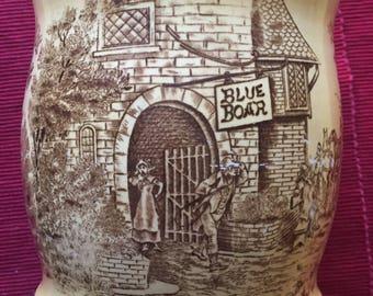 Blue Boar Tobacco Vintage Ceramic Transfer-Ware Jar Base, Thermador; Depicts Pastoral Scene - Man Exiting Blue Boar Inn to Board Stage Coach