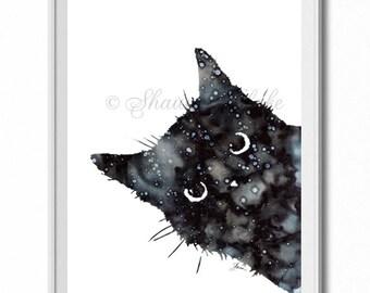 Cat Art Print, Fine Art Print, Home Decor, Wall Art, Poster, Galaxy, Black Cat, Peeking Cat