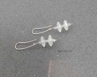 Hovering Earrings – Handmade Lampwork Glass Shimmer Beads, Swarovski Crystals, Sterling Silver