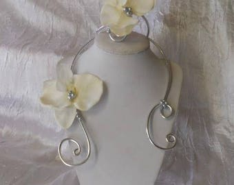 Wedding or bridesmaid ivory orchid flower adornment
