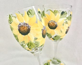 Sunflower hand painted pair of wine glasses