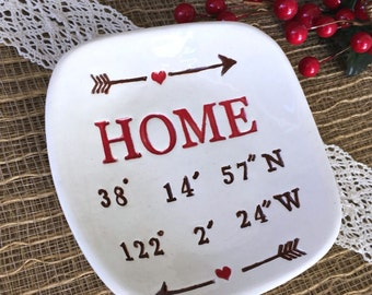 Personalized Housewarming Gift, Latitude Longitude  Ceramic Gift Dish, New Home Gift, Realtor Gift, Ring Dish, Home Decor