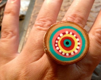 Ring, Painted Wood Slice, Adjustable Ring, OOAK