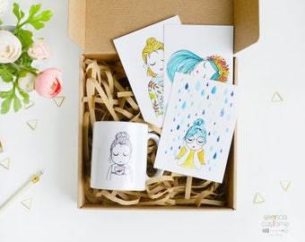 Gift Box: Illustrated mug + 3 illustrated postcards + box, illustration