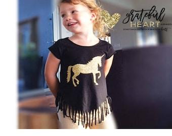 Unicorn shirt, Fringe shirt, Unicorn outfit, Unicorn party, Glitter unicorn, Gold Unicorn, Unicorns, Toddler Unicorn outfit,Unicorn birthday
