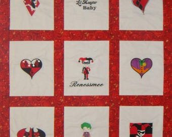Harley Quinn Baby Quilt. Choose your images and fabrics. Other coordinating bedding available.