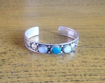 Ethnic Turquoise  MoonStone Cuff Bracelet
