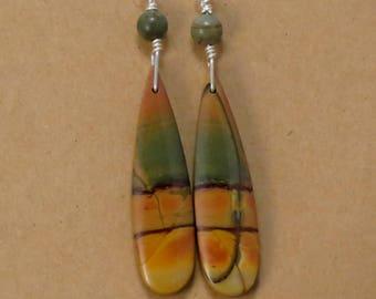 Red Creek Jasper Dangle Earrings, Teardrop Stone Earrings, Boho Earrings