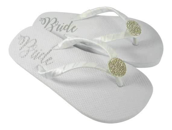 Embellishment amp; Cut with on Gold Flops Flip Satin Emerald Rhinestone Bride Straps Flat White Wrapped UYY8Pvq