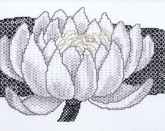 Water Lily – Counted Blackwork Chart. Flower design.  Blackwork design to work in coloured threads.