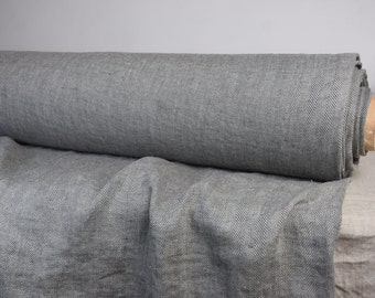 Pure 100% linen fabric 210gsm. Herringbone weave, linen tweed in not dyed flax & gray anthracite. Medium weight, washed-softened.
