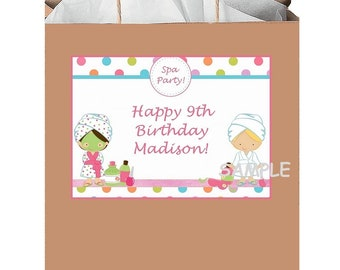 18 Personalized Spa Party Stickers,birthday favors,bag box labels,shower,supplies,decorations,custom made