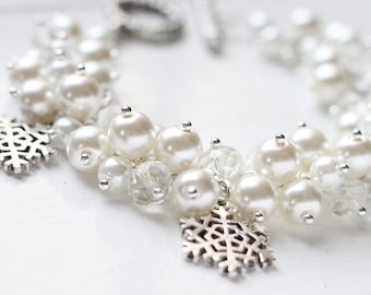 Winter Wedding Bridesmaid Jewelry Pearl Cluster Bracelet - Snowflakes, Custom pick a snowflake