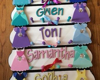 Princess Themed Personalized Jewelry Hanger - Kids Jewelry Organizer - Chunky Necklace Holder