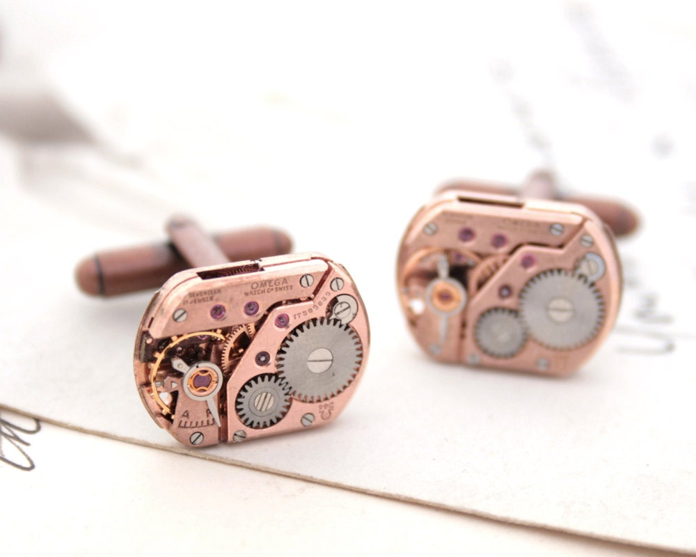 Ruby Wedding Gifts For Men: Omega Cufflinks Copper Wedding Anniversary Gift For Husband