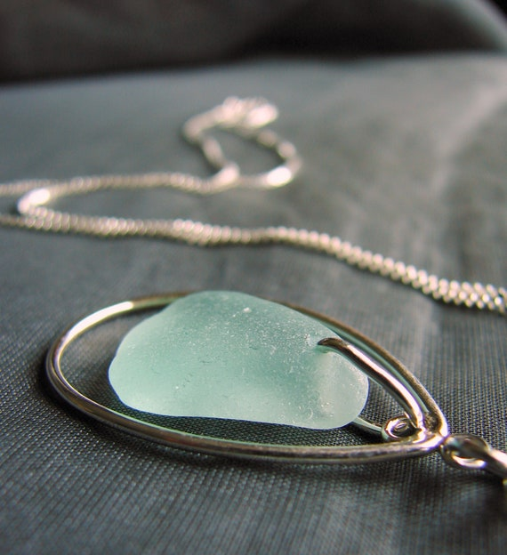 Sea Keeper sea glass necklace in seafoam