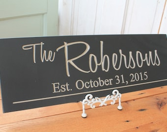 Last Name Sign  Personalized Family Name Sign Couple Wedding Gift Last Name Sign Established Sign Custom Wooden Sign