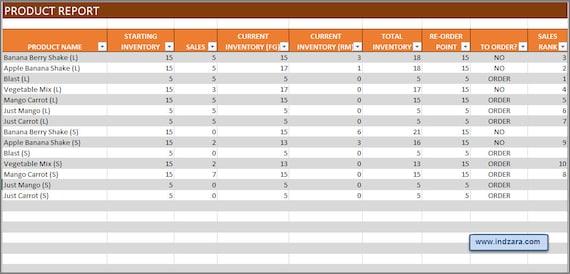 Herstellung Inventar und Sales Manager Excel-Vorlage