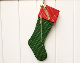 SALE - The Kringle - Christmas Stocking in Green & Red and Gold; handcrafted classic stocking for adults and children