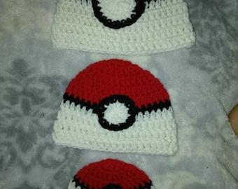 Poke ball inspired baby hat!