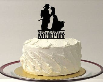 Wedding Cake Topper Firefighter and Bride Silhouette Wedding