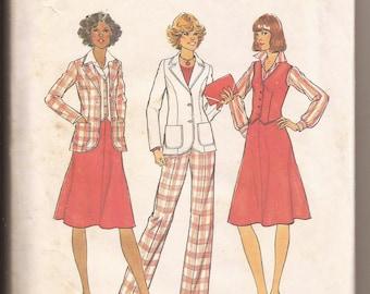 1970s Simplicity Jacket, Shirt, Skirt, and Pants Pattern, #7376, Size 10 (32.5 Bust, 34.5 Hip, 25 Waist)