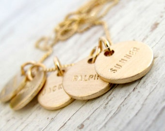 Personalized Gold Mother's Necklace, Family Jewelry, Grandmother's Necklace, Double Sided with Birthdates, Kid's Names, Grandchildren