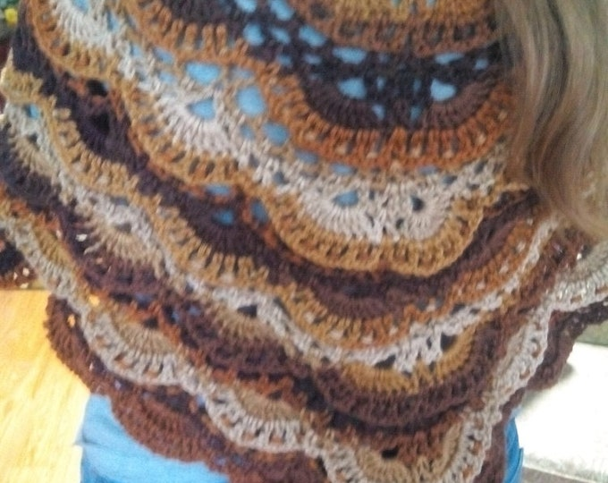 """60x30 Crocheted Shall, """"Brown Ombre Summer Shall with Fans"""""""