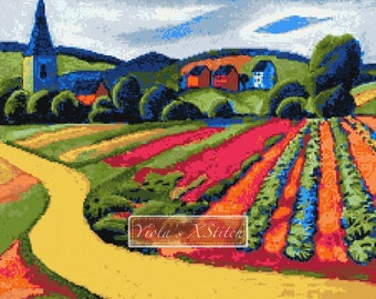 Landscape at the Tegersee - modern cross stitch kit