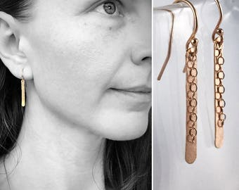 14k Rose Gold Filled Shimmer Earrings - Simple Minimalist Bar Earrings - Hammer Formed - Subtle Hammered Texture