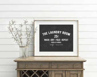 Laundry Room decor, Chalkboard Sign, laundry wall decor, laundry guide, laundry printable, Laundry Room Sign, Funny Wall Art, Decorations