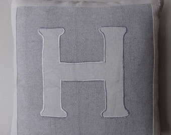 Gray and white monogram  pillow. Gray  initial  pillow cover. Custom  made  personalised  cushion covers.  18 inch