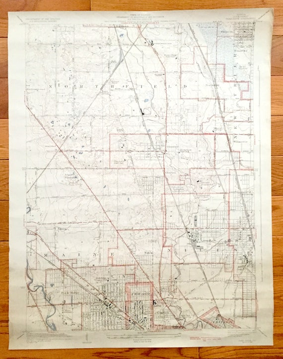 Antique Park Ridge Illinois 1929 US Geological Survey