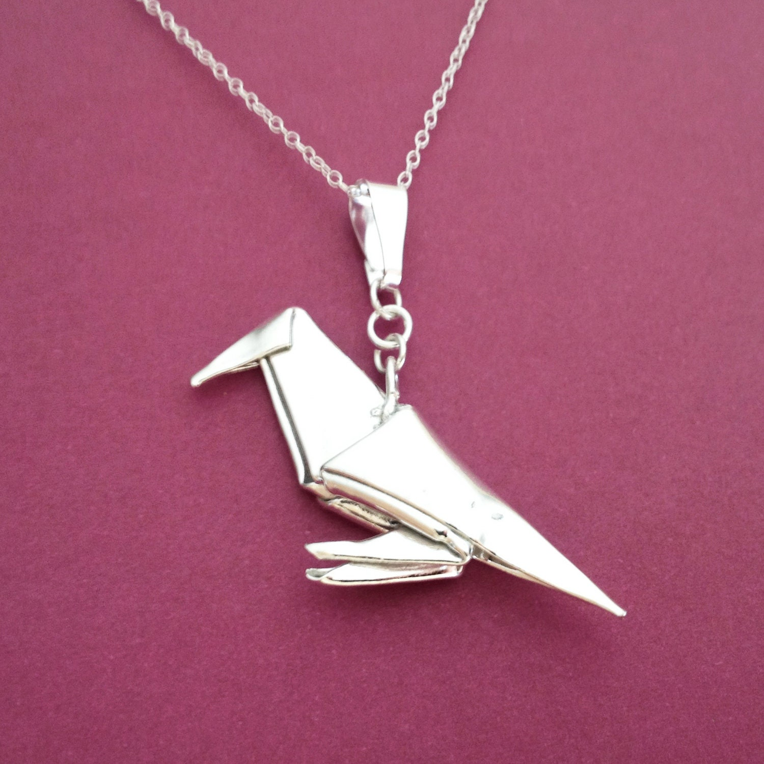 Silver origami crow pendant raven pendant origami bird zoom mozeypictures Image collections