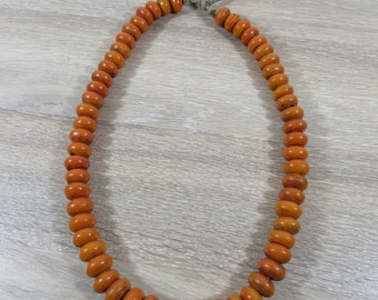 "Strand of old Nepali pottery beads- Nepali necklace- sourced from Nepal- 24"" strand on string"