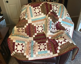 Stars in the Cabin/Lap Quilt/Throw Quilt/