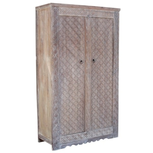 Majestic Whitewash Heera Carved Armoire, Carved Armoire, Wardrobe Armoire,  Wood Carved Armoire,