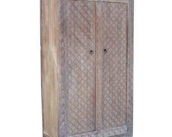 Majestic Whitewash Heera Carved Armoire, Carved Armoire, Wardrobe Armoire, Wood Carved Armoire, Wood Carved Wardrobe Wardrobe Closet Indian