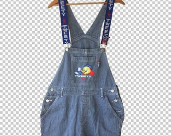 90s Tweety Bird Conductor Pinstripe Spellout Straps Embroidered Overalls // Medium 1990s Looney Tunes Ribbon Overalls Baseball Hip Hop