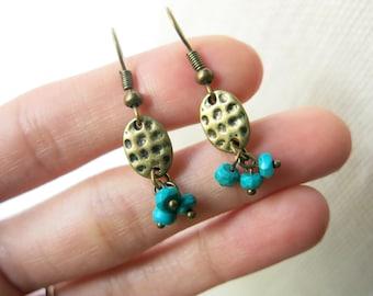 Brass coin turquoise cluster dangle earrings, December birthstone, fall jewelry, cluster earrings, bohemian jewelry, boho earrings
