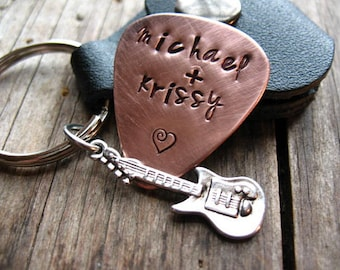 Copper Guitar Pick, Couples Gift, Personalized,  Leather Pouch, Key Ring, Guitar Charm, Musical Couples, Hand Stamped Couples Gift